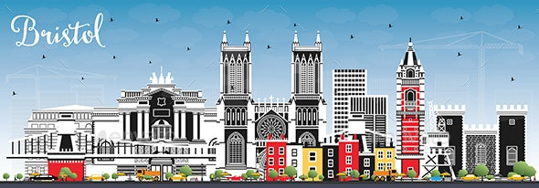 Bristol UK City Skyline with Color Buildings and Blue Sky. - Buildings Objects