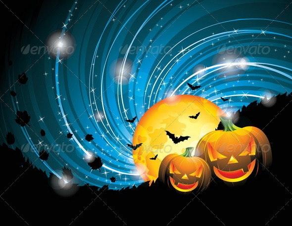 Vector Halloween Party Background with Pumpkins. - Halloween Seasons/Holidays