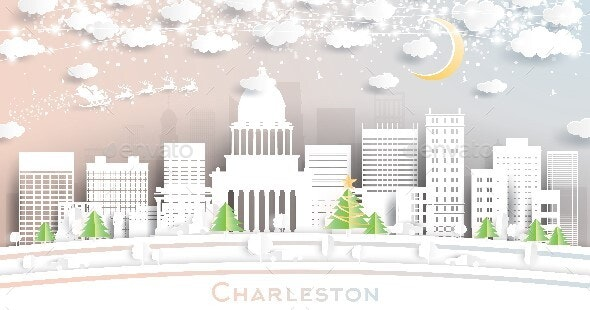 Charleston West Virginia USA City Skyline in Paper Cut Style with Snowflakes, Moon and Neon Garland. - Christmas Seasons/Holidays