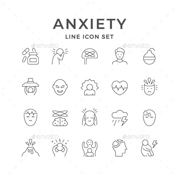 Set Line Icons of Anxiety