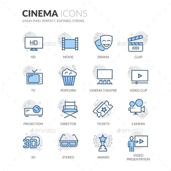 Line Cinema Icons - Miscellaneous Vectors