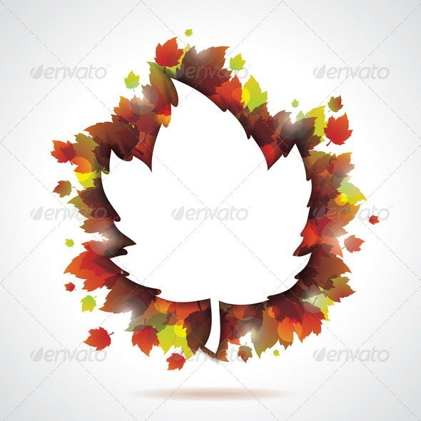 Vector autumn leaves background with copy space - Seasons Nature