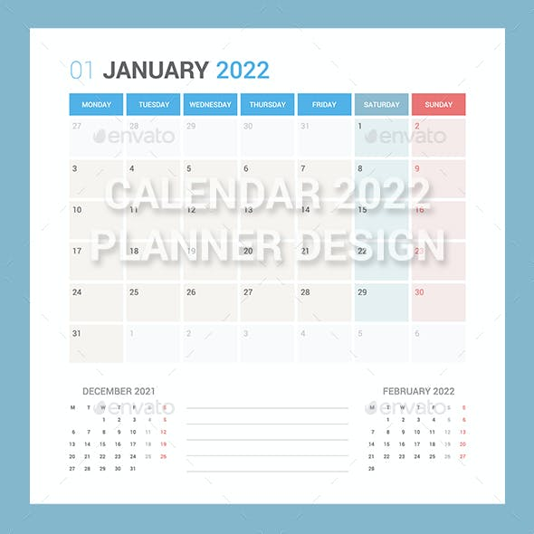 Calendar 2022 Planner Design [Monday]