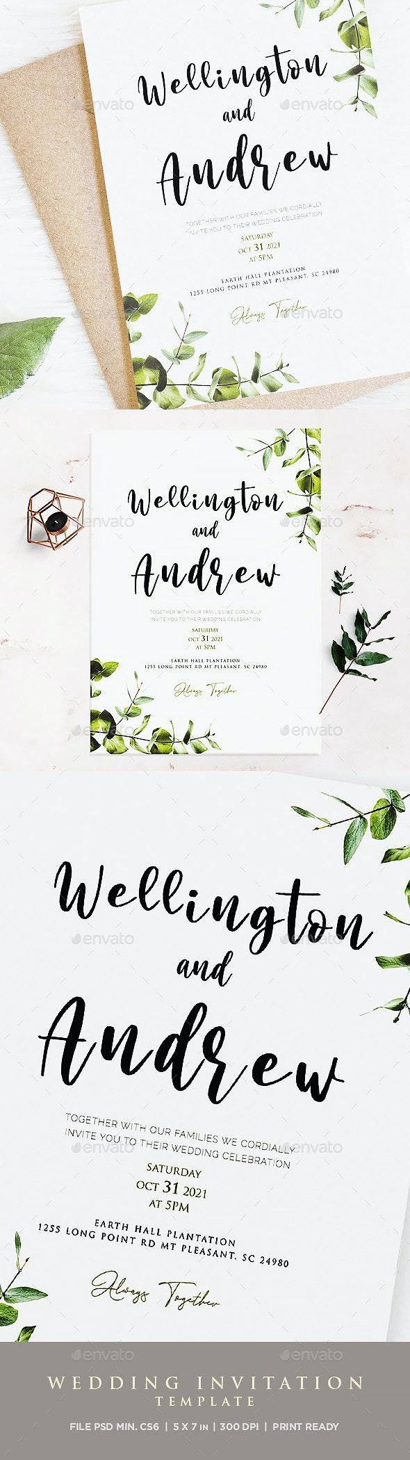 Professional Boho Wedding Invitation Template - Weddings Cards & Invites
