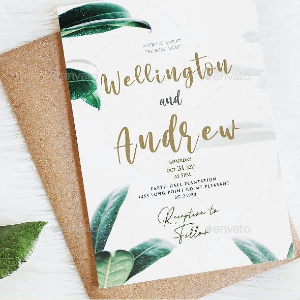 Greenery Wedding Eucalyptus Invitation