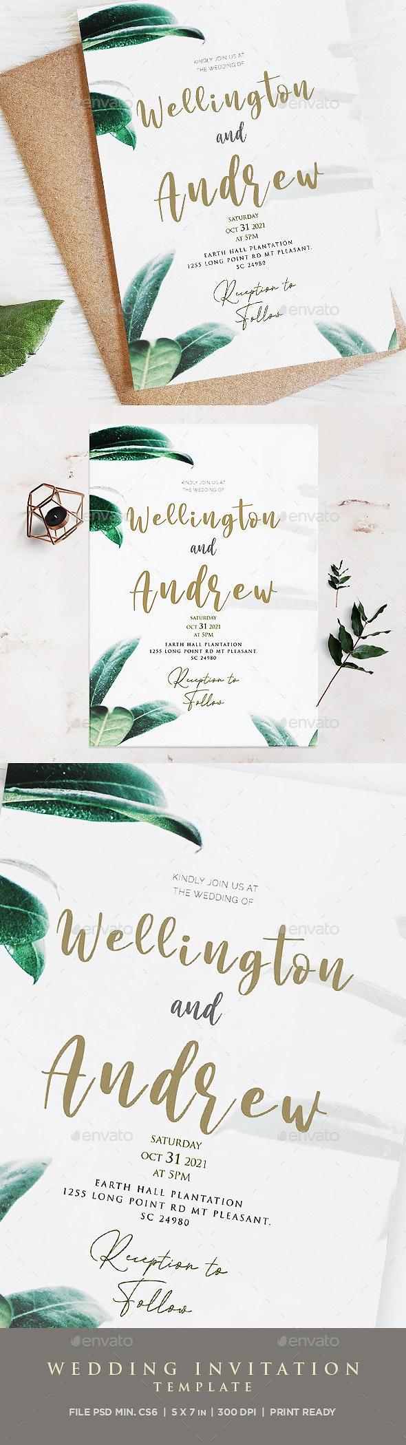 Greenery Wedding Eucalyptus Invitation - Weddings Cards & Invites