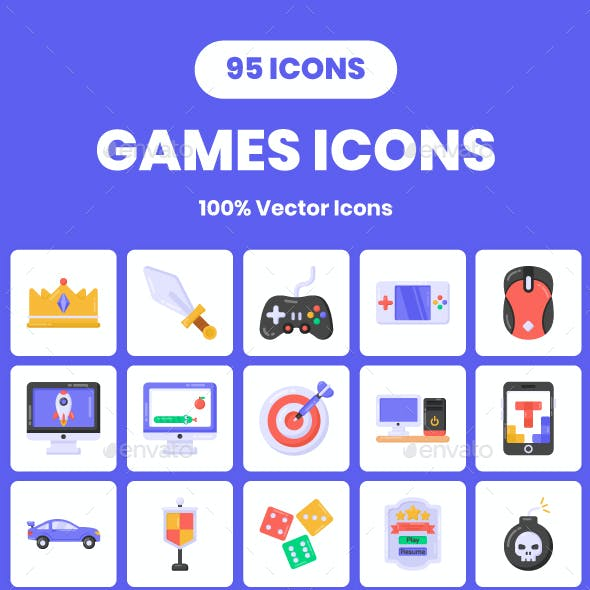 95 Flat Games Icons