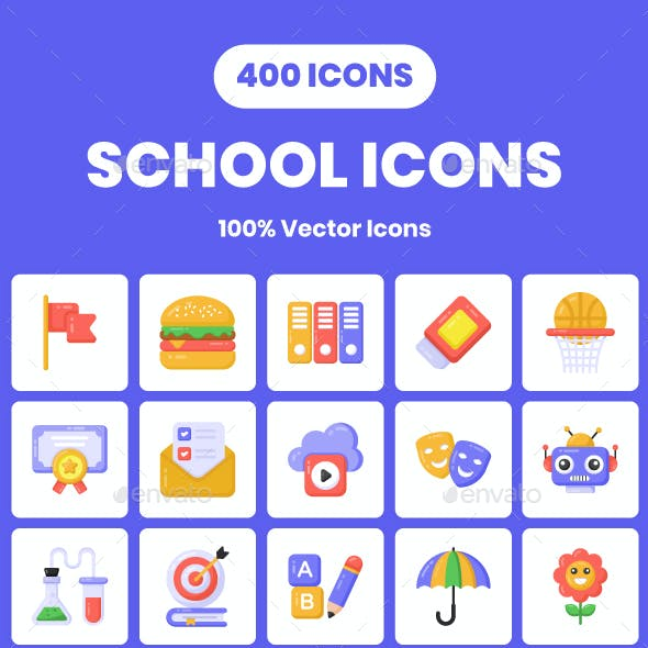 400 Flat School Icons