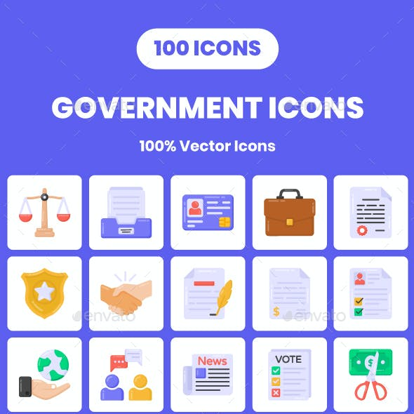 100 Flat Government Icons