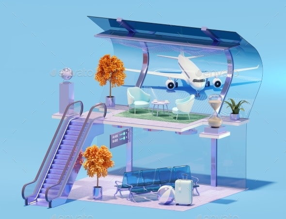 Airport Terminal Interior and Airplane - Objects 3D Renders