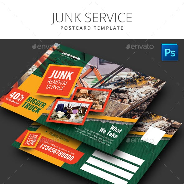 Junk Removal Postcard Template