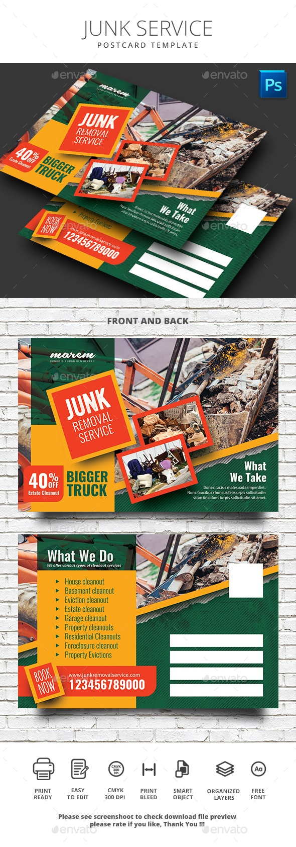 Junk Removal Postcard Template - Cards & Invites Print Templates