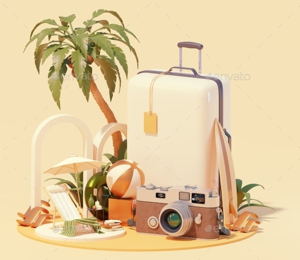Summer Travel and Beach Vacations - Miscellaneous 3D Renders