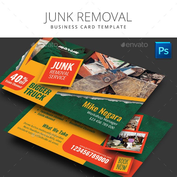 Junk Removal Business Card Template