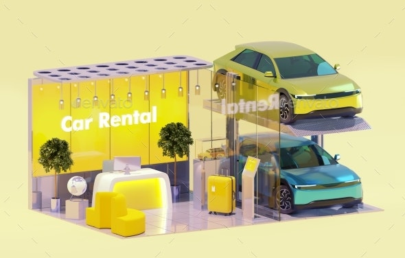 Car Rent Service Office and Rental Cars - Miscellaneous 3D Renders