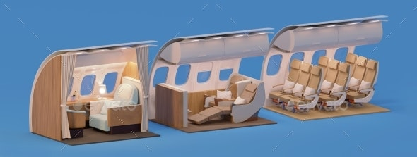 Airplane Interior Crosssection - Objects 3D Renders