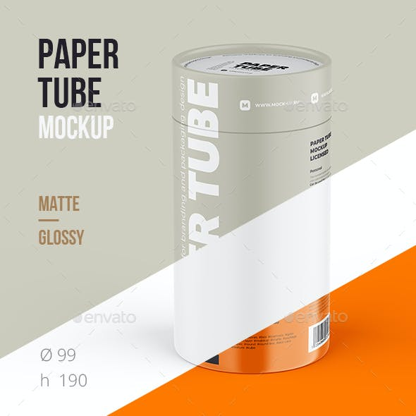 Closed Paper Tube Mockup 99x190mm