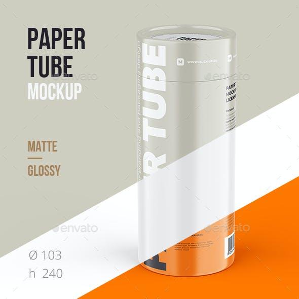 Closed Paper Tube Mockup 103x240mm