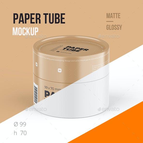 Closed Paper Tube Mockup 99x70mm