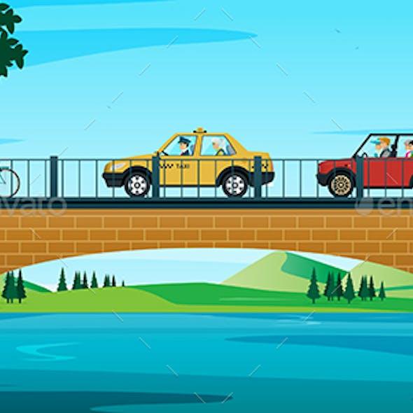 Car running on bridge