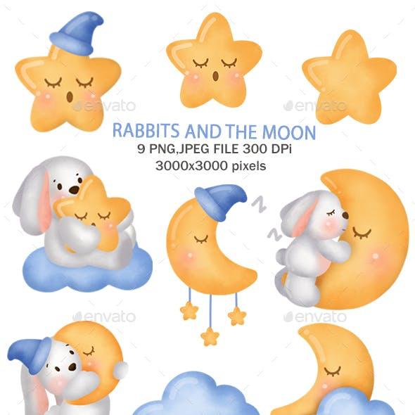 Cute Rabbit on The Moon Clipart