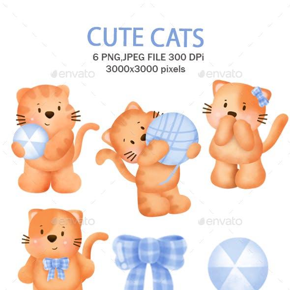 Cute orange cats clipart.