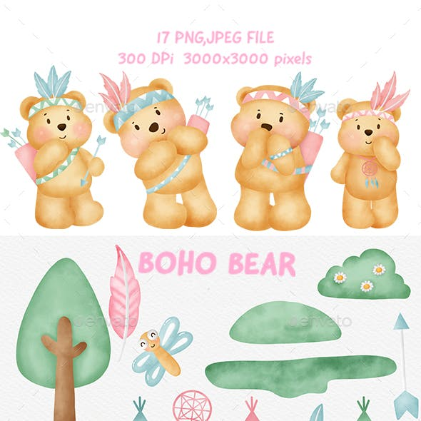 Watercolor  Boho Bear Clipart