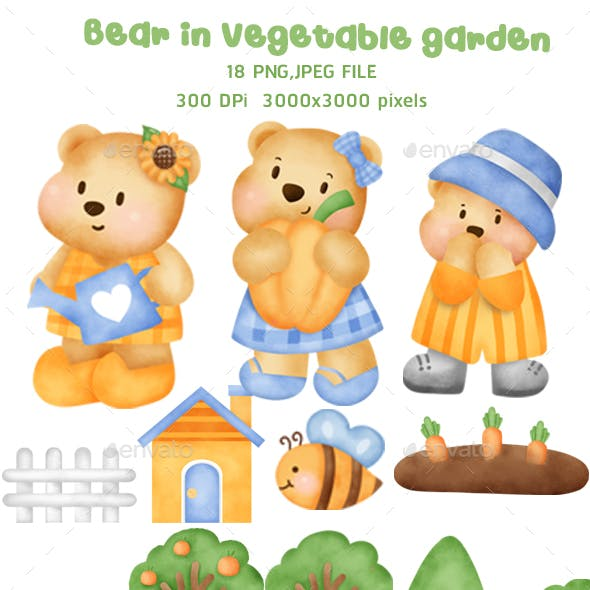 Watercolor cute teddy bear clipart.