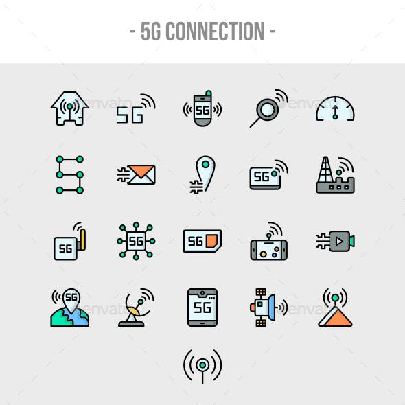 5G Connection Outline Color Icon