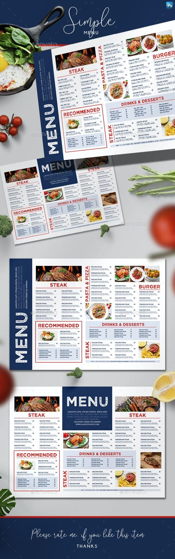 Simple Menu Board - Food Menus Print Templates