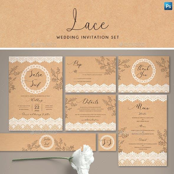 Lace Wedding Invitation Set