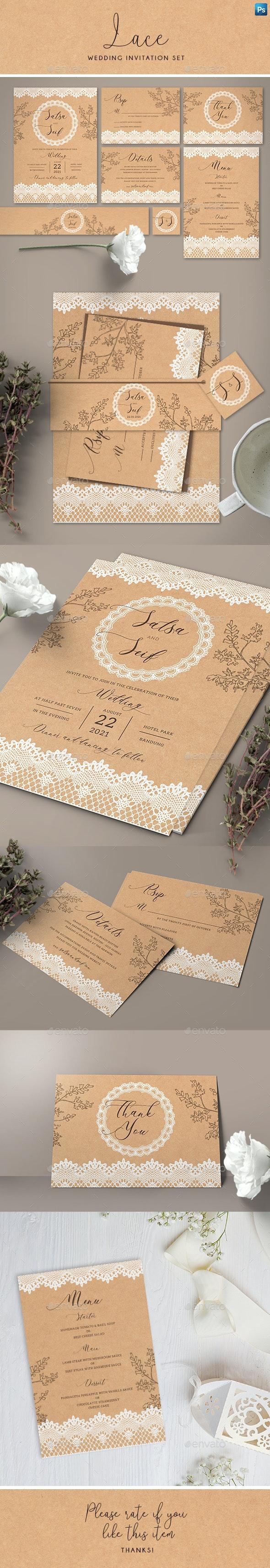 Lace Wedding Invitation Set - Weddings Cards & Invites