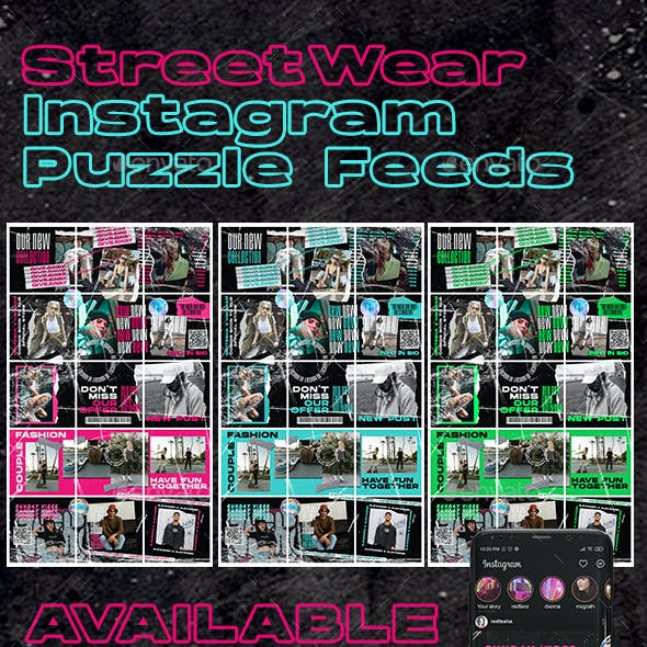 3 PSD Streetwear Instagram Puzzle Feed