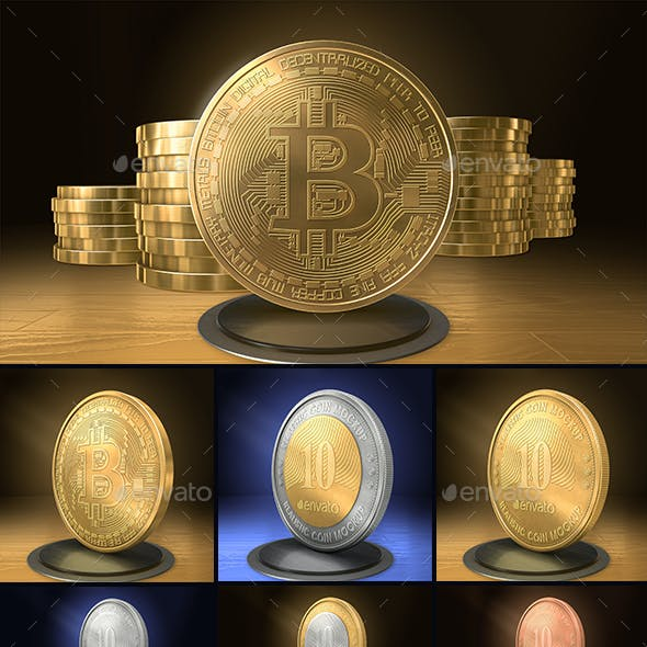 Bitcoin Cryptocurrency Gold Coin Mockup