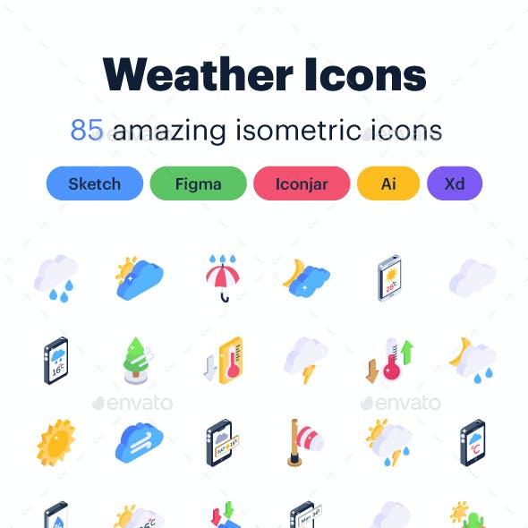 85 Isometric Weather Icons