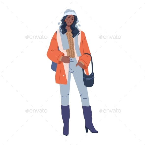 Stylish Modern Woman Fashion Winter Outfit Clothes