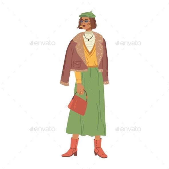 Stylish Lady in Fashion Cloth Warm Winter Style
