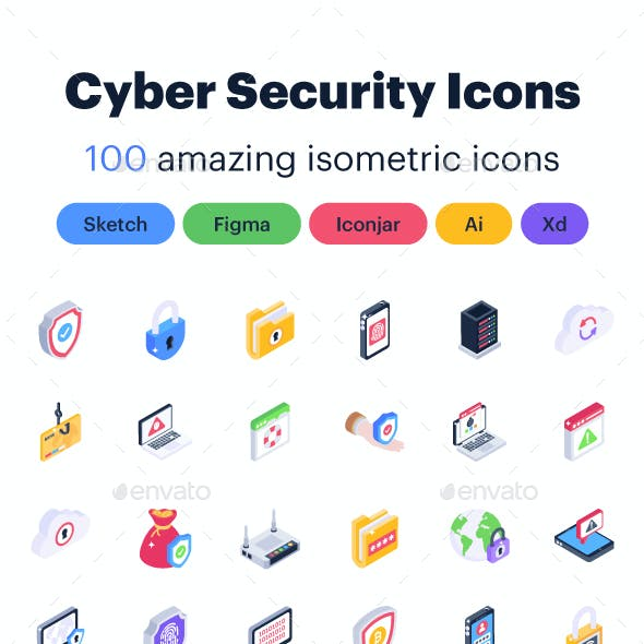 Isometric Cybersecurity Icons