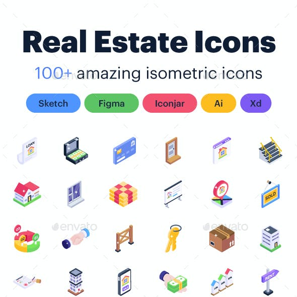 150 Real Estate Isometric Icons