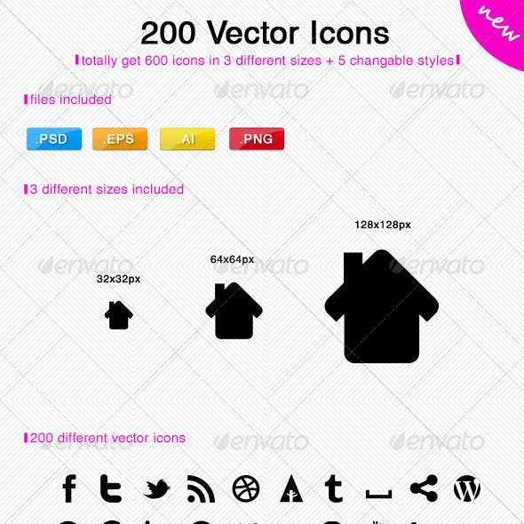 200 Vector Icons