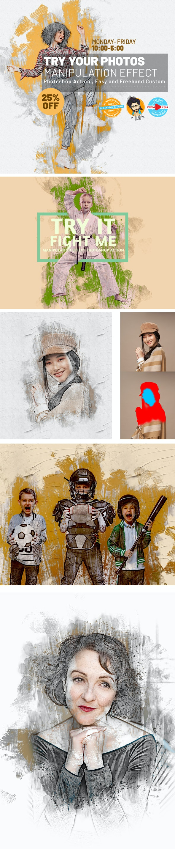 Manipulation Effect Photoshop Action - Photo Effects Actions