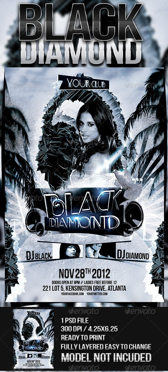 Black Diamond Party Flyer - Clubs & Parties Events