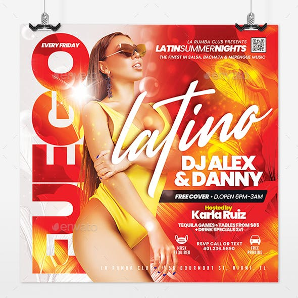 Latin Nights Nightclub Flyer
