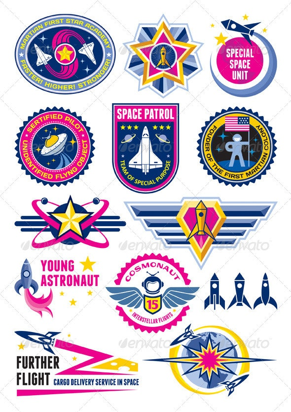 Space Badges & Labels - Decorative Symbols Decorative