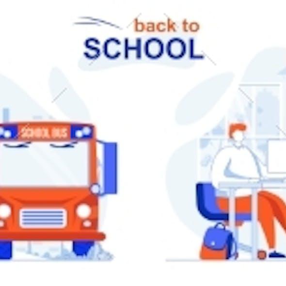Back to School Web Concept Set