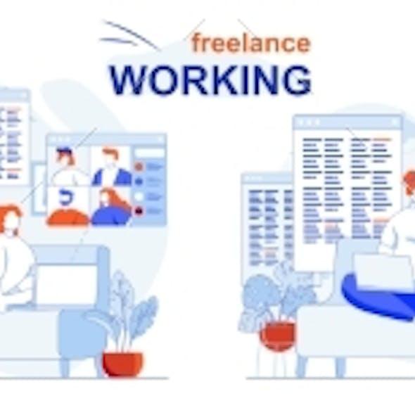 Freelance Working Web Concept Set