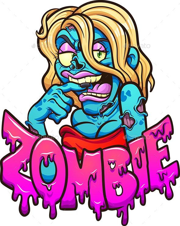Female Cartoon Zombie - Halloween Seasons/Holidays