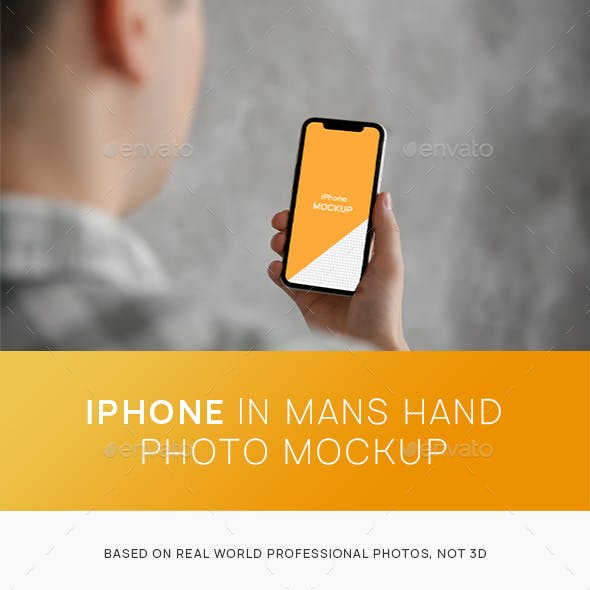iPhone in Mans Hand Photo Mockup