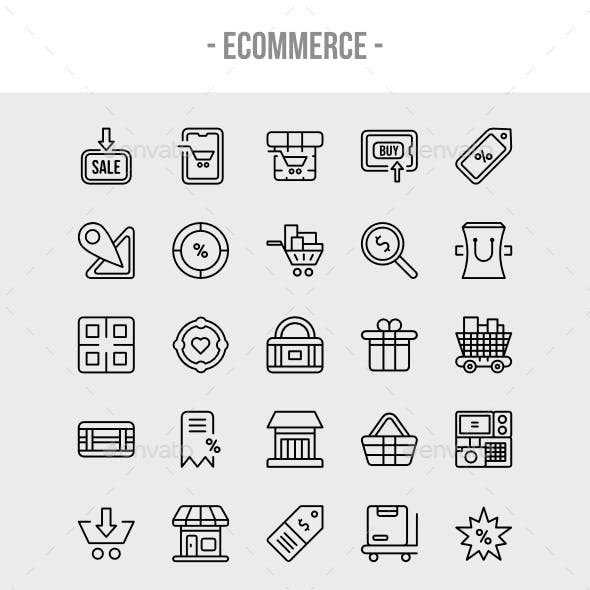 50 Ecommerce and online store outline icon set