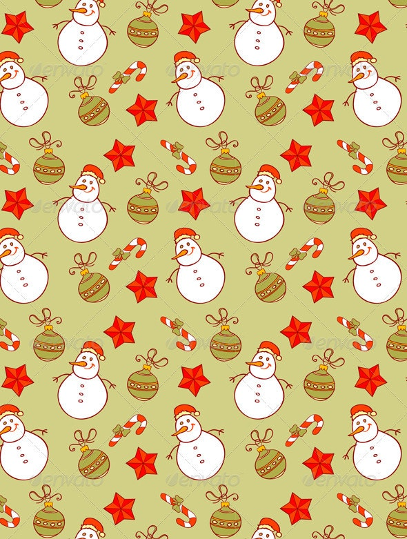 Seamless Pattern with Snowman - Patterns Decorative